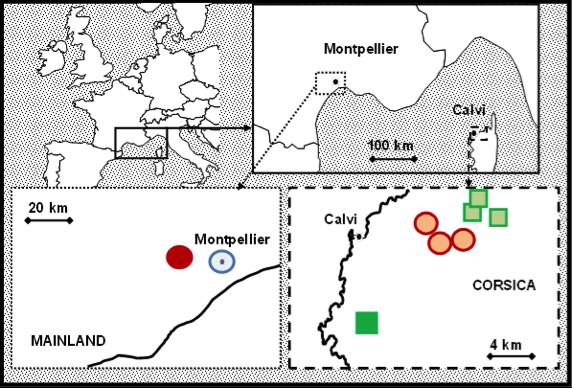 Sites principaux d'étude des populations de mésanges